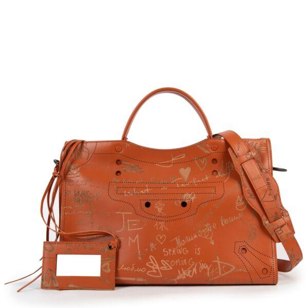Balenciaga Orange Matte Calfskin Graffiti Blackout City AJ Love Satchel Bag