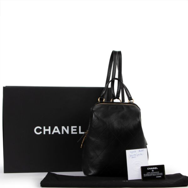 Chanel Black Lambskin Leather Quilted Backpack