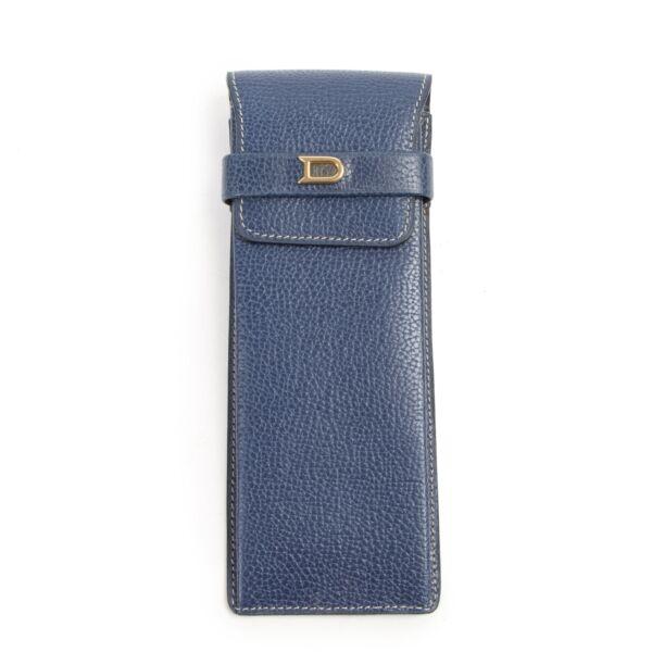 Authentic second-hand vintage Delvaux Blue Leather Pencil Case buy online webshop LabelLOV