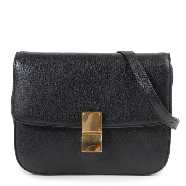 Celine Black Pebbled Leather Medium Classic Box Bag for the best price at Labellov