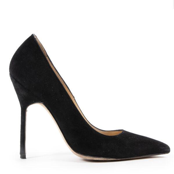 Authentieke Tweedehands Manolo Blahnik Black BB Suede Pointed Toe Pumps juiste prijs veilig online shoppen luxe merken webshop winkelen Antwerpen België mode fashion