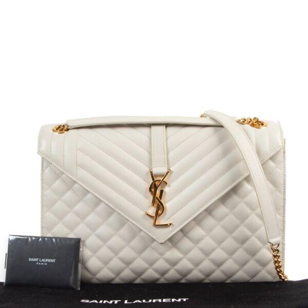 Saint Laurent White Envelope Large Shoulder Bag