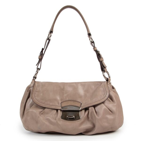 Shop safe online authentic second hand Prada Taupe Shoulder Bag in good preloved condition, at the right price at Labellov.com.