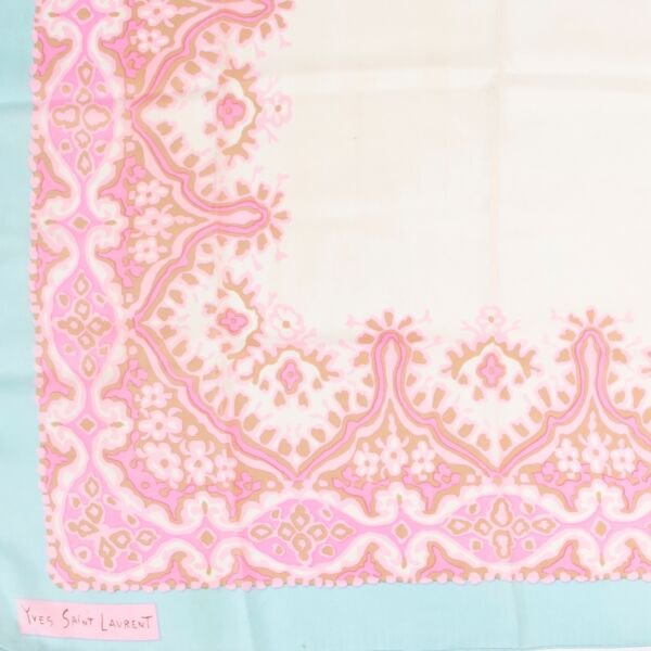 Saint Laurent Pink Silk Scarf