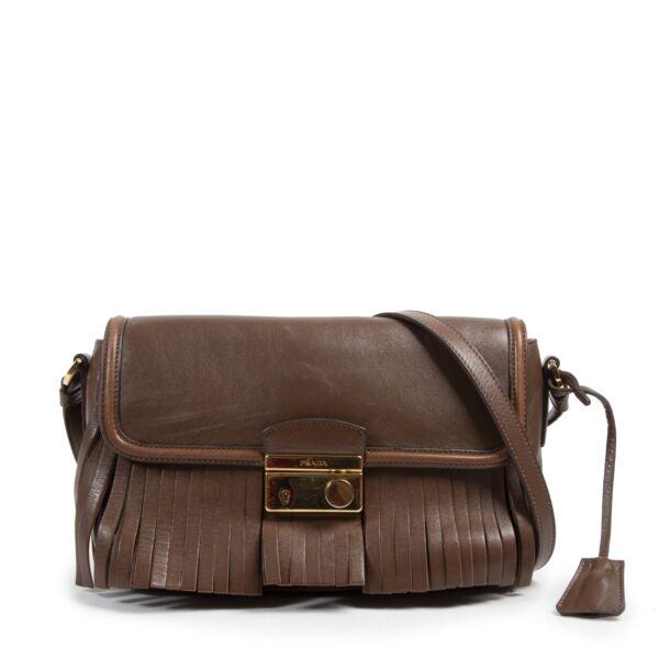 Authentieke Tweedehands Prada Brown Fringe Crossbody Bag juiste prijs veilig online shoppen luxe merken webshop winkelen Antwerpen België mode fashion
