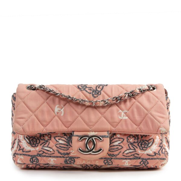 Chanel Fabric Printed Classic Flap Bag