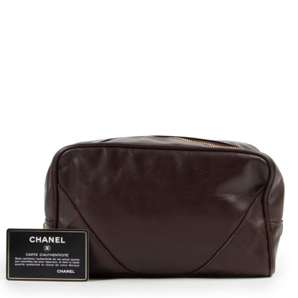 Chanel Brown Leather Travel Case