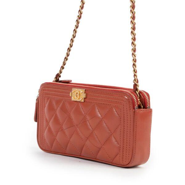 Chanel Rust Boy Wallet On Chain WOC Double Zip Mini Bag