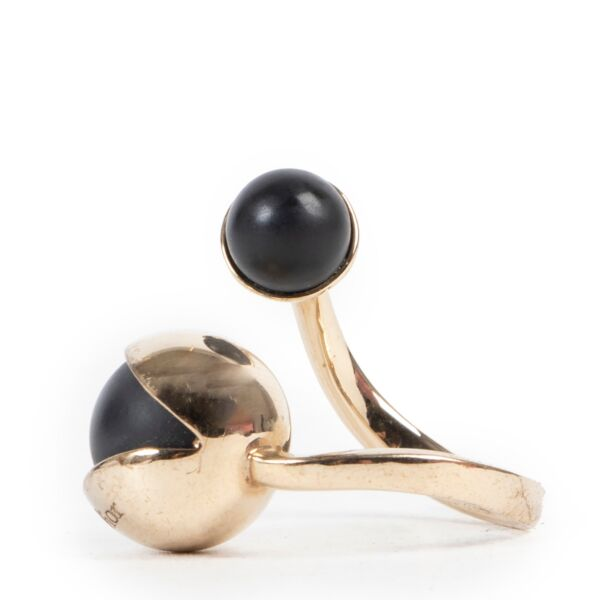 Reliable second hand site for Dior Gold Ring With Black Pearls-Size 55.