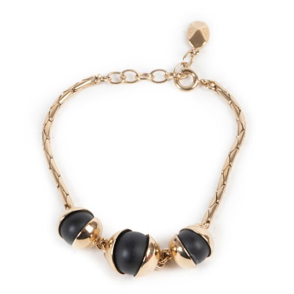 Shop safe online authentic second hand Dior Gold Bracelet With Black Pearls.