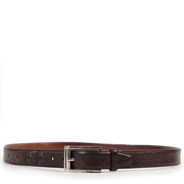 Gucci Brown Leather Monogram Belt - Size 42