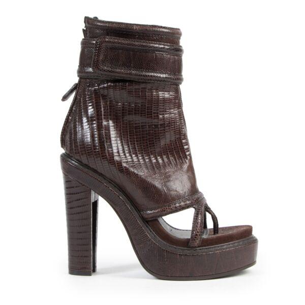 Authentic secondhand Givenchy Brown Lizard Leather Open Toe Boots  - Size 40 designer shoes luxury vintage webshop safe secure online shopping designer high end brands