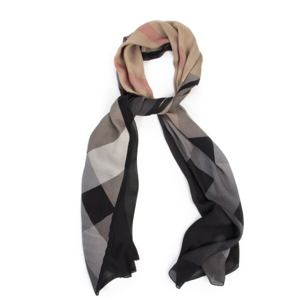 Burberry Black And Beige Check Silk Scarf
