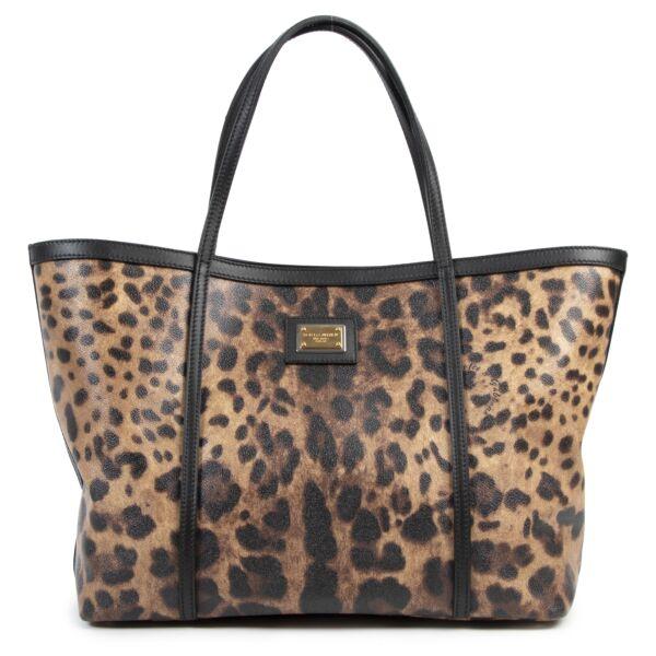 Authentieke Tweedehands Dolce & Gabbana Leopard Tote Bag juiste prijs veilig online shoppen luxe merken webshop winkelen Antwerpen België mode fashion