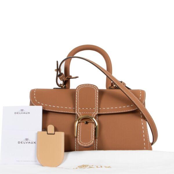 Delvaux Cognac Brillant East/West Mini Surpique Shoulder Bag