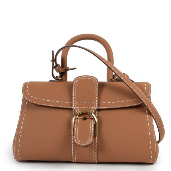 Shop safe online 100% authentic second hand Delvaux Cognac Brillant East/West Mini Surpique Shoulder Bag in as new condition at Labellov in Antwerp.