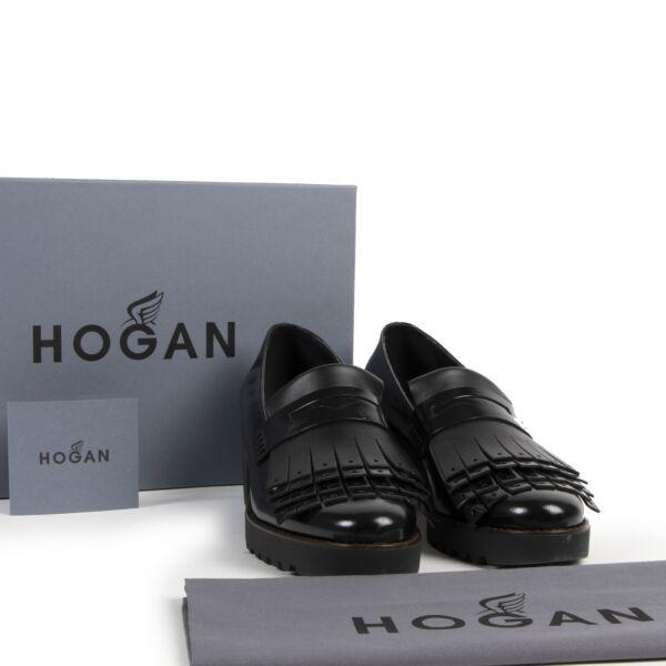 Hogan Black Leather Block Heels - Size 40