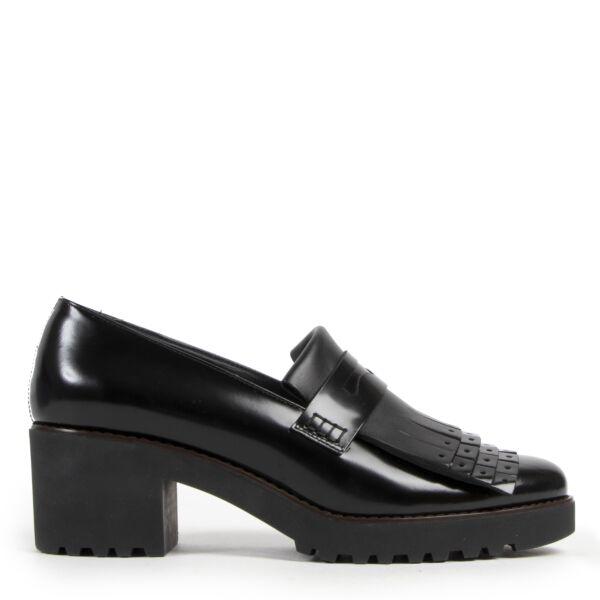 Authentieke Tweedehands Hogan Black Leather Block Heels - Size 40 juiste prijs veilig online shoppen luxe merken webshop winkelen Antwerpen België mode fashion