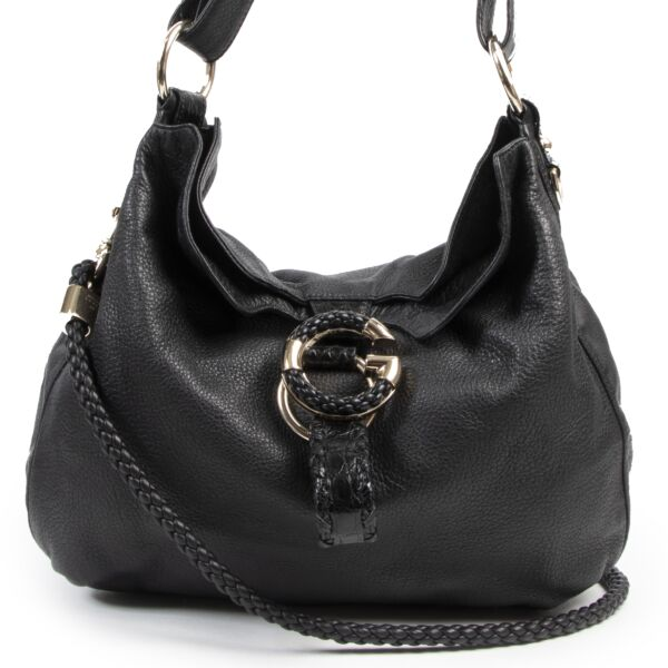 Gucci Black Leather Braided Hobo Bag with Croc Details