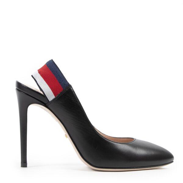 Authentieke Tweedehands Gucci Black Web Slingback Pumps - size 37.5 juiste prijs veilig online shoppen luxe merken webshop winkelen Antwerpen België mode fashion