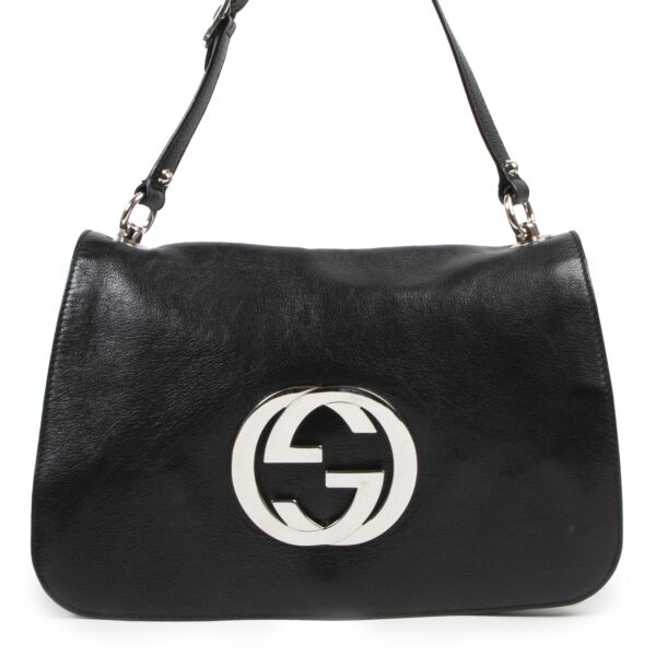 Authentieke Tweedehands Gucci Black Leather GG Flap Shoulder Bag juiste prijs veilig online shoppen luxe merken webshop winkelen Antwerpen België mode fashion