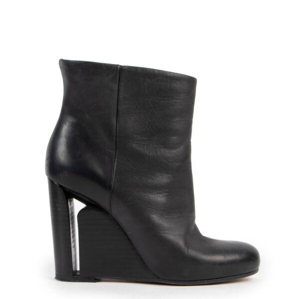 Maison Martin Margiela Black Leather Wedge Boots - size 37