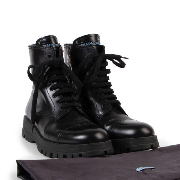 Prada Black Combat Boots - Size 37,5