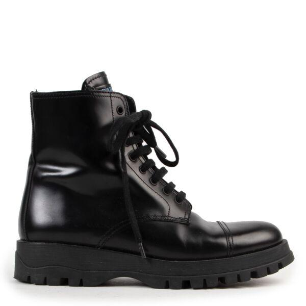Shop safe online authentic second hand Prada Black Combat Boots - Size 37,5