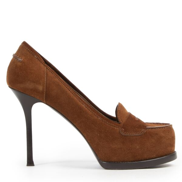 Saint Laurent Camel Suede Tribute Pumps for the best price at Labellov secondhand luxury in Antwerp