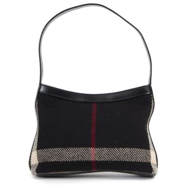 Burberry Black Check Wool Shoulder Bag for the best price at Labellov
