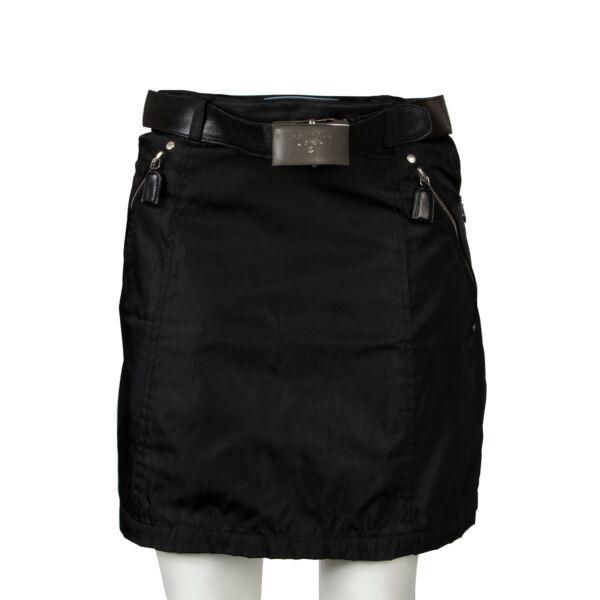 Prada Black Nylon Skirt with Belt - size M