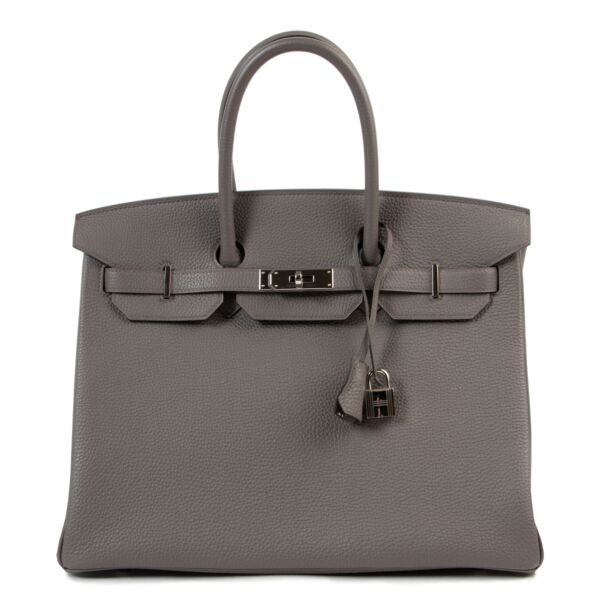 Hermès Birkin 35 Togo Etain PHW for the best price at Labellov secondhand luxury in Antwerp