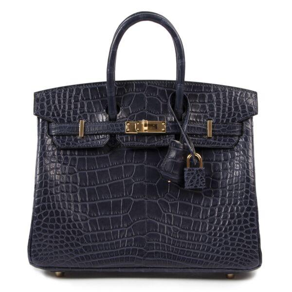 koop veilig online tegen de beste prijs *Reserved* NEW Hermès Birkin 25 Alligator Mississippiensis Mat Bleu Indigo GHW