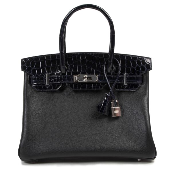Hermès Birkin 30cm Touch Noir Bleu Marine Taurillon Novilo Croco Niloticus PHW for the best price at Labellov secondhand luxury
