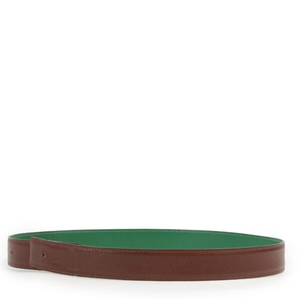 Hermès Green/Brown Reversible Belt Strap - Size 76
