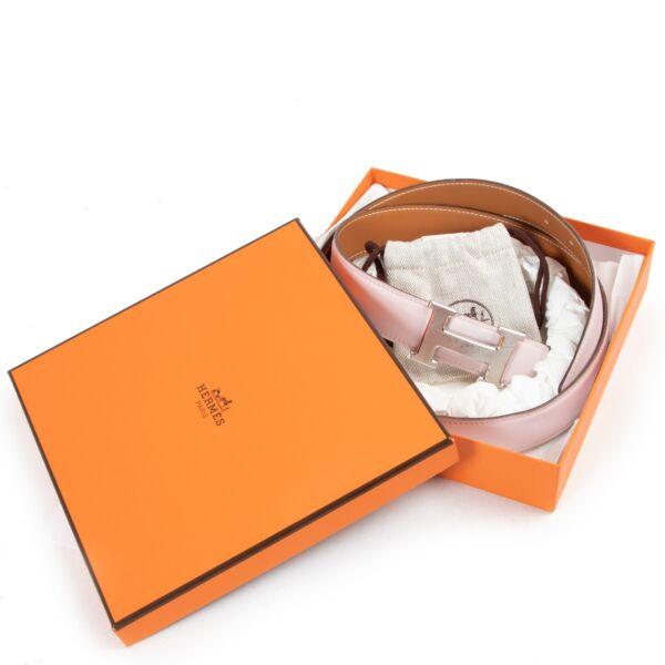Hermès Pink/Brown Reversible Constance Belt - Size 90