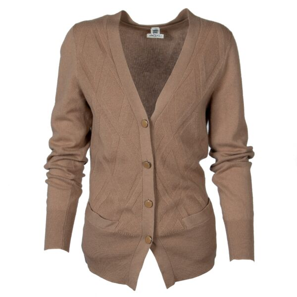 100% cashmere cardigan with diamante pattern and buttons by Hermès