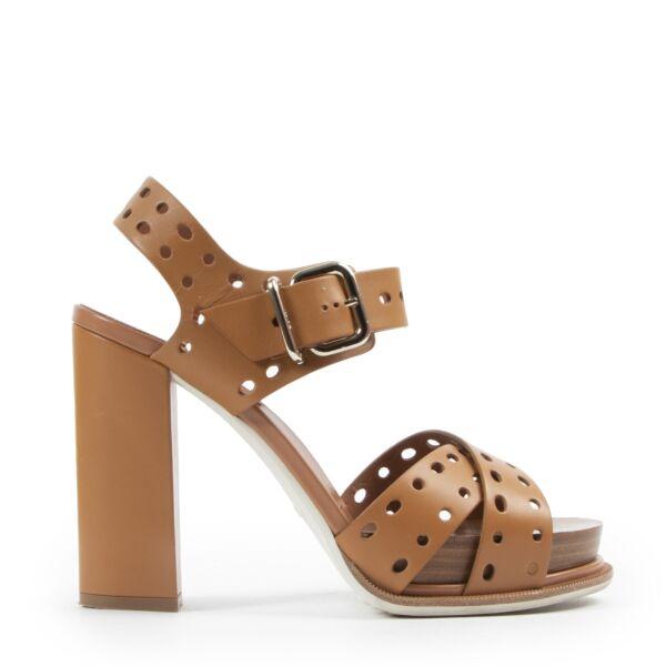 Authentieke Tweedehands Tod's Camel Leather Platform Block Heels - Size 38,5 juiste prijs veilig online shoppen luxe merken webshop winkelen Antwerpen België mode fashion