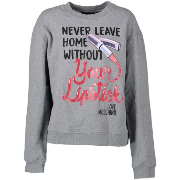 Moschino Grey 'Never Leave Your Home With Lipstick' Sweater bij LabelLOV Antwerp. Online webshop in Antwerpen. Koop veilig en online merkkledij.