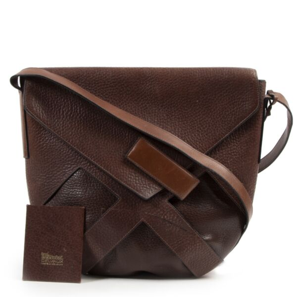 Delvaux Brown Leather Flap Bag Crossbody