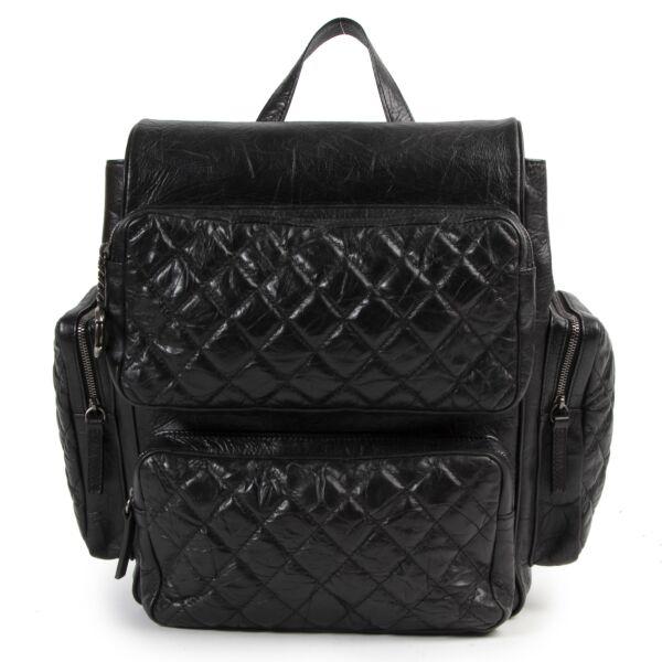 """Authentieke Tweedehands Chanel Black Aged Quilted Lambskin Leather """"Casual Rock"""" Backpack  juiste prijs veilig online shoppen luxe merken webshop winkelen Antwerpen België mode fashion"""