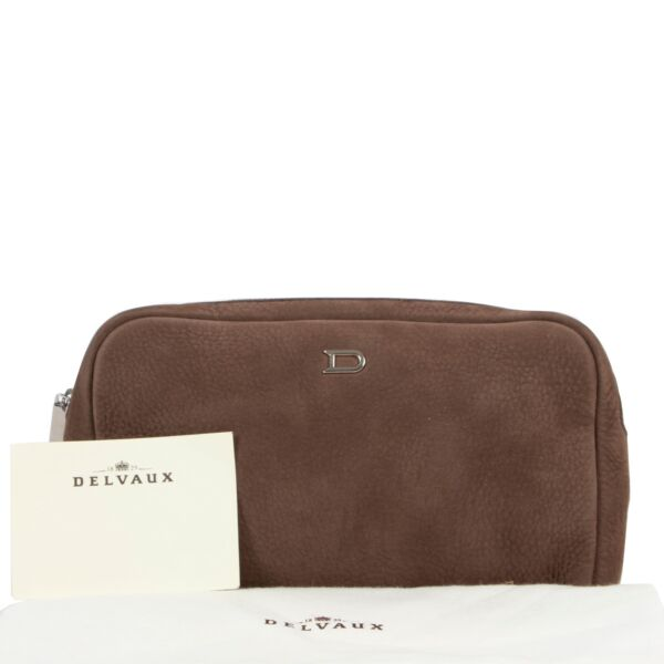 Delvaux Taupe Vanity PM Clutch