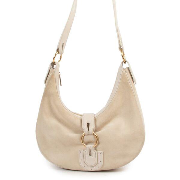 Delvaux White Nubuck Camille Shoulder Bag