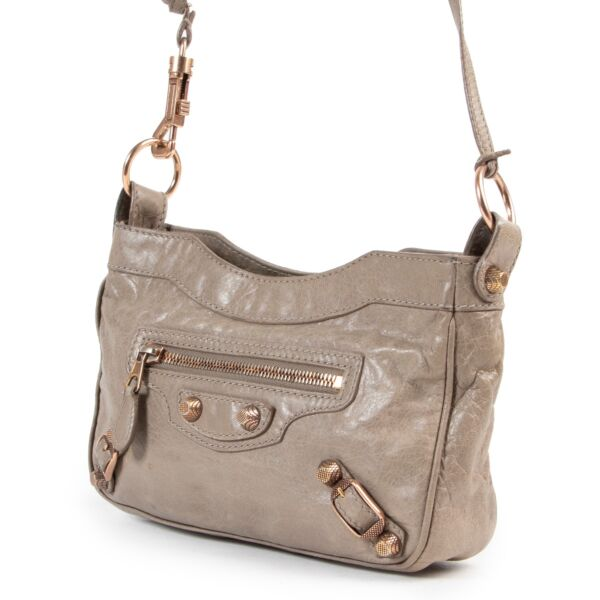 Balenciaga Taupe Mini City Crossbody Bag