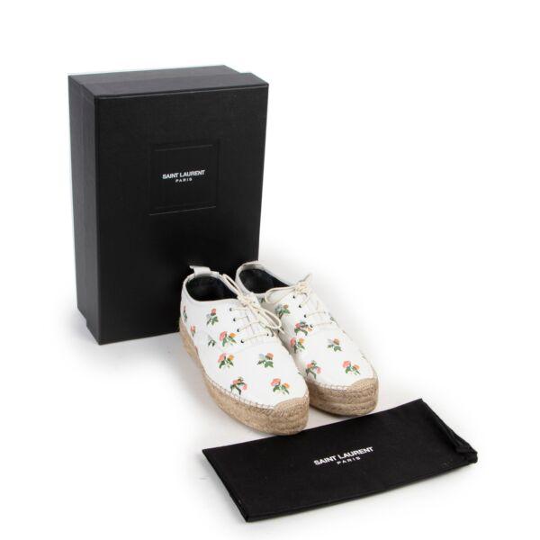 Saint Laurent White Leather Floral Espadrilles - size 38