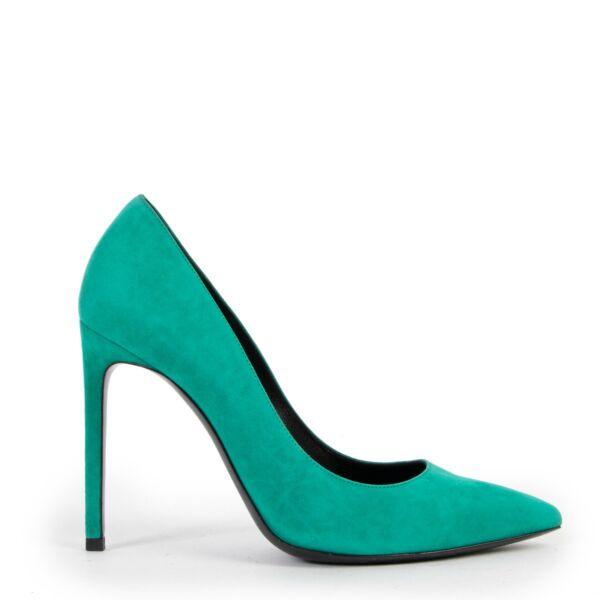 Saint Laurent Paris Anja Green Suede Heels - Size 38,5