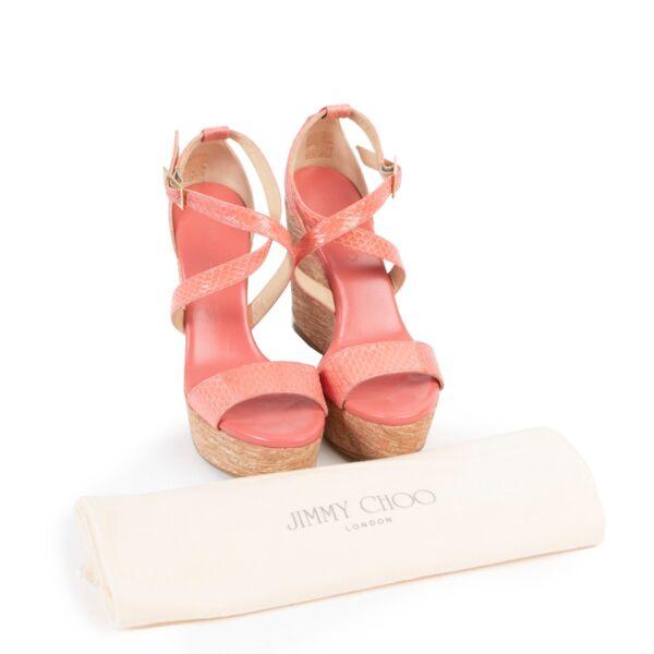Jimmy Choo Pink Python Wedge Heels - Size 38,5