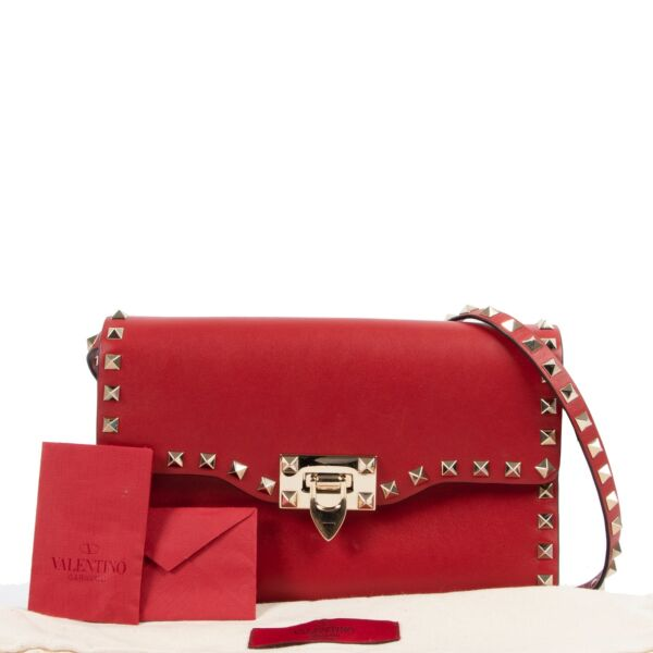 Valentino Garavani Red Leather Rockstud Crossbody