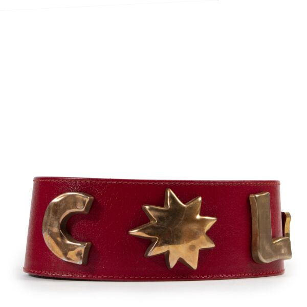 Authentic secondhand Christian Lacroix Red Leather Gold Symbol Belt designer accessories fashion luxury vintage webshop safe secure online shopping