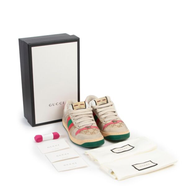 Gucci Beige Pink Sneakers - Size 38